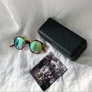 Krewe St. Louis Mirrored 24k Sunglasses Blue/Green